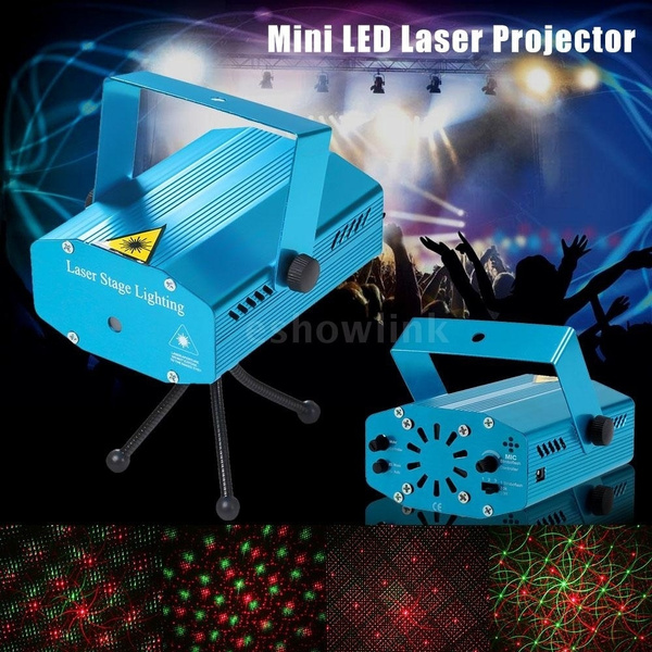 Picture of Voice-activated Mini Led Laser Projector Red Green Stage Lighting Effect Patterns Voice-control Dj Disco Xmas Party Club Light Adjustment With Tripod Ac110-240v Size 5w Color Blue