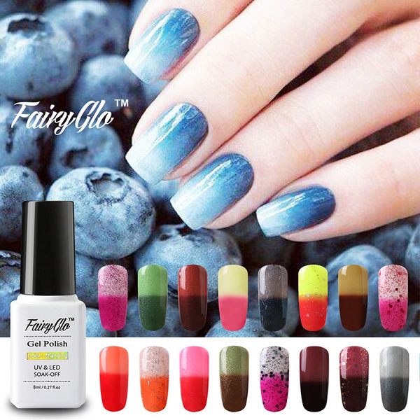Any 5 Colors Salon Nail Supplies FairyGlo Amazingly Thermal Color-Changing  Gel Polish 8ml Christmas Gift