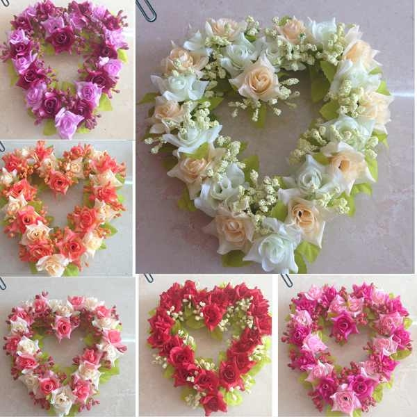 Picture of 1x New Beautiful Wedding Party Home Decor Artificial Flowers Heart-shaped Wreath