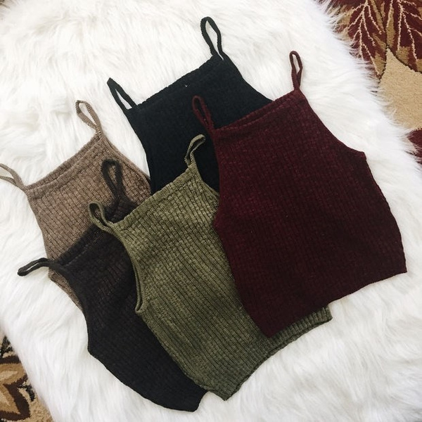Women Sexy Sleeveless Knit Crop Tops