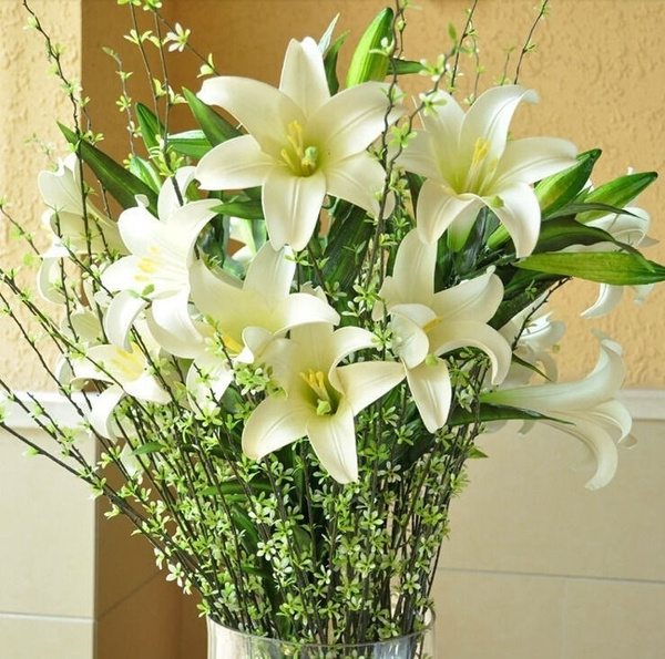 Picture of Silk Artificial Lily Flower 1 Or 5 Bunches Bouquet Wedding Office Decoration