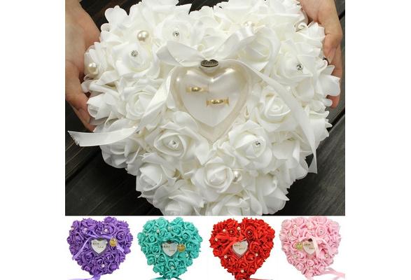 Romantic Single-layer Rose Wedding Heart Shaped Gift Ring Box Pillow LUN