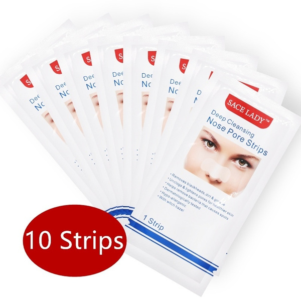 Picture of 10 Pieces Deep Cleansing Pore Nose Strips Blackhead Remover Strong Blackhead Peel-off Mask Size 10 Color White