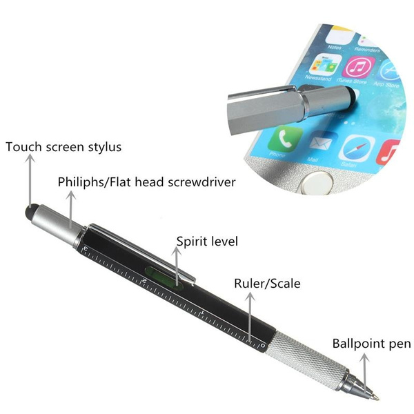 Hot Sale Top Quality Handy Tech Tool Ballpoint Pen Screwdriver Ruler Spirit Level Multifunction Tool Fit For Mens Gift