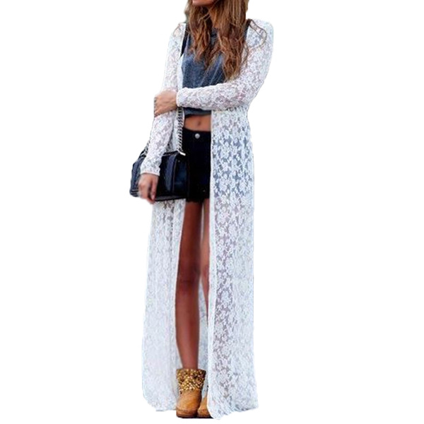Women Lace Floral White Long Maxi Dress Boho Cardigan Jacket Coat Kimono Kaftan