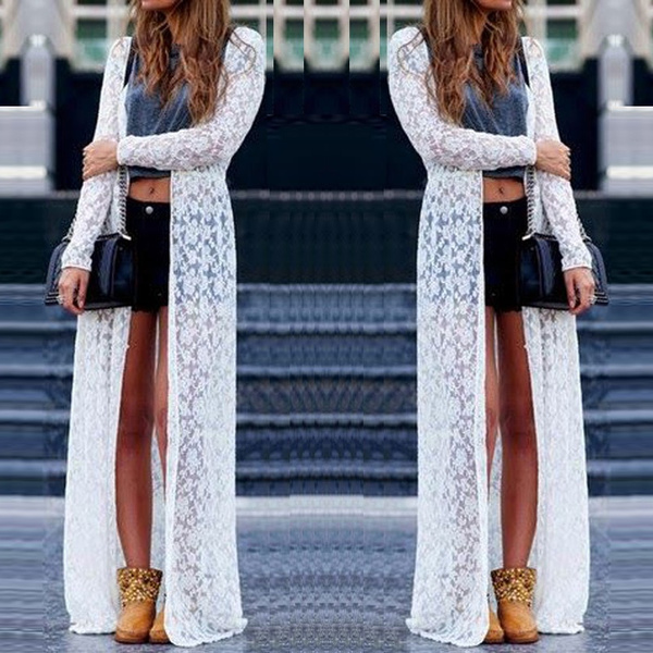 Wish | Women Lace Floral White Long Maxi Dress Boho Cardigan ...