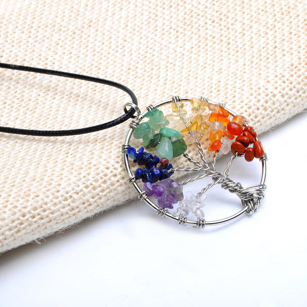 Natural Amethyst Life Tree Quartz Gemstone Chips Stone Bead Pendant Necklace