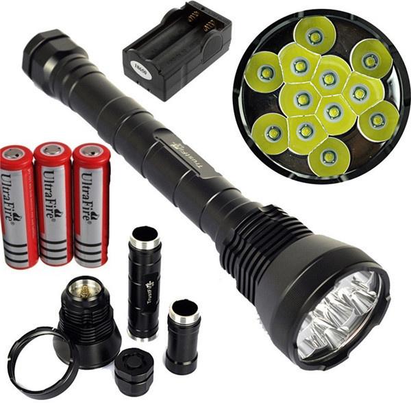 Super Bright Flashlight 13000Lumen Lantern 12x XML T6 LED Flashlight w/ 3x  TrustFire18650 Rechargeable Batteries and Charger