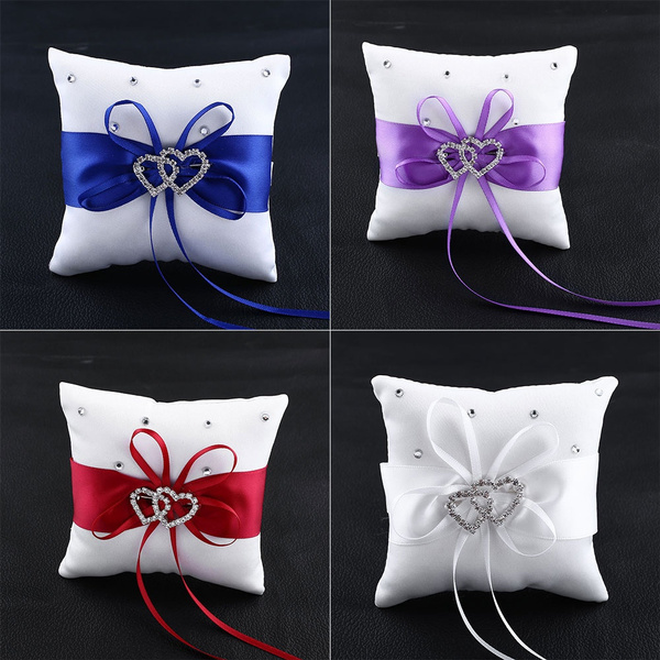 Picture of Double Heart Crystal Ring Bearer Pillow Cushion 10010045mm