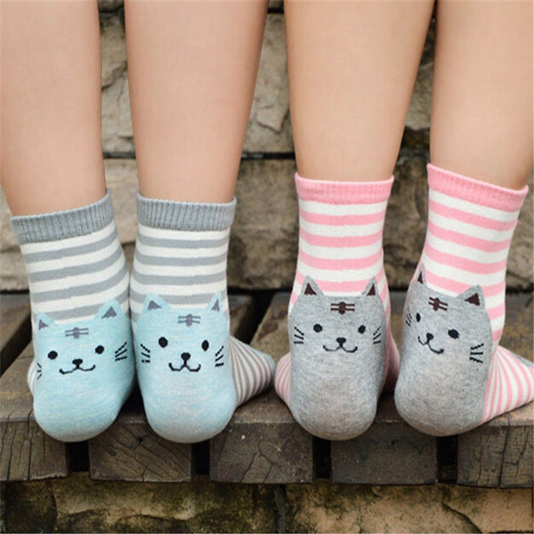 Women Girls Sweet Lovely Animal Cartoon Cute Cat Design Cotton Short Socks