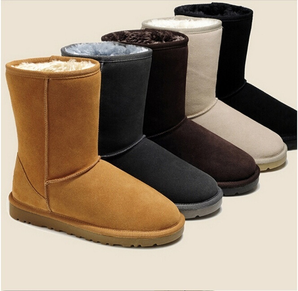 Picture of Fahion Winter Warm Fleece Suede Leather Ankle Boots Women Flat Snow Shoes