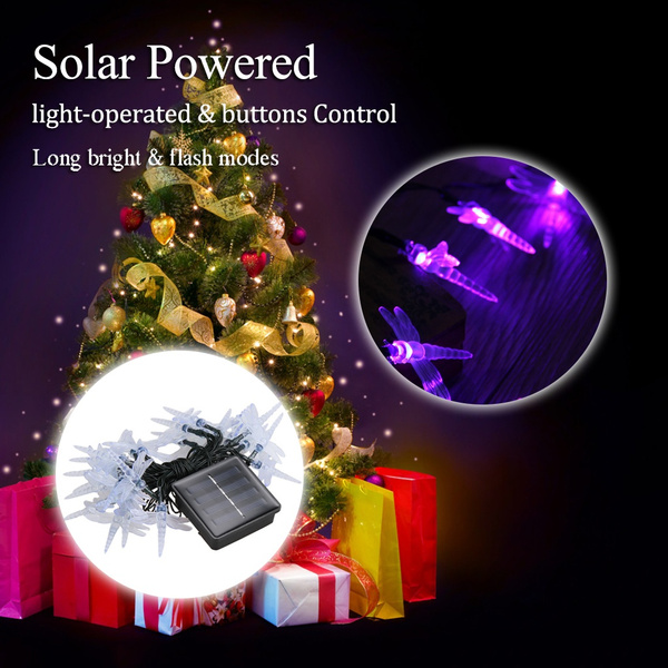 wish solar powered light sensitive christmas decoration lights 30 led solar light string dragonfly solar fairy led string lights for outdoorindoor - Solar Powered Outdoor Christmas Decorations