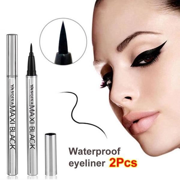 Picture of 2 X Newest Women Ladies Extreme Black Liquid Eyeliner Waterproof Make Up Eye Liner Pencil Pen Hot Makeup Beauty Tool