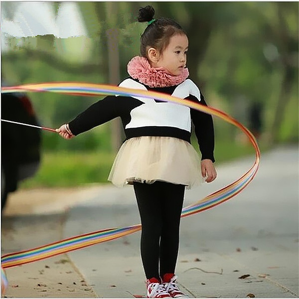 Artistic Gymnastics Dance Coloured Ribbon Art Ballet Rotate Motion Children Toys Coloured Ribbon