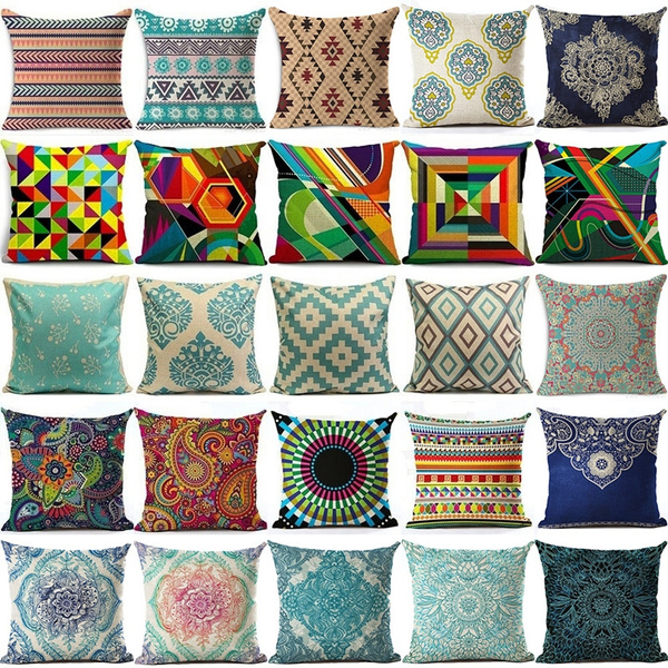 Picture of Fashion Home Decor Bohemia Geometric Cotton Linen Throw Pillow Cover Sofa Car Cushion Cover 4545 Cm