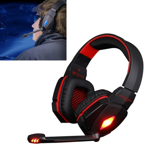 EACH G4000 Stereo Gaming Headset with Mic Volume Control & LED Light for  Computer, Cable Length: 2 2m (Red)