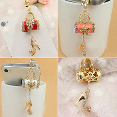 3.5mm Rhinestones Handbag Shoe Pattern Cellphone Charms Anti-Dust Dustproof Earphone Audio Headphone Jack Plug Stopper