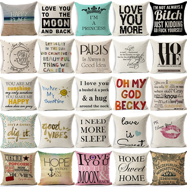 Picture of You Are My Sunshine Romantic Quote Cotton Linen Square Pillow Cases Sofa Car Throw Pillow Cushion Cover Home Decoration