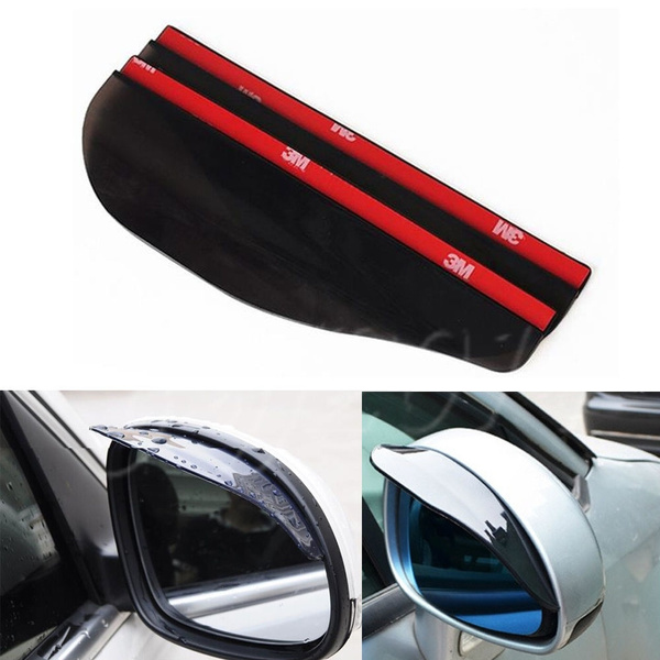 Black 2pcs Universal Car Rear View Side Mirror Rain Board Sun Visor Shade Shield