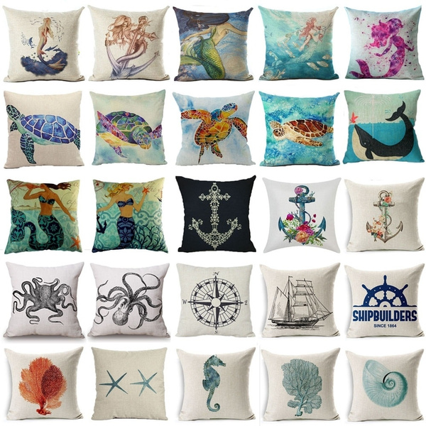 Picture of Sea Creature Anchor Sail Cotton Linen Pillow Hold Cushion Covers Pillowcase 18