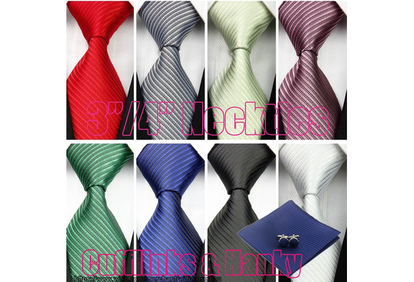 3inches/4inches 100% Silk Ties Men's Jacquard Woven Necktie for Wedding Business & Compatible Cufflinks & Hanky/Handkerchief