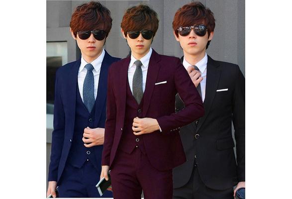 No Vest China Top high quality Men's two buttons suits ( Coat +Trousers+Tie)! Men's Fashion Button occupation suit Men's Business and Wedding Suit