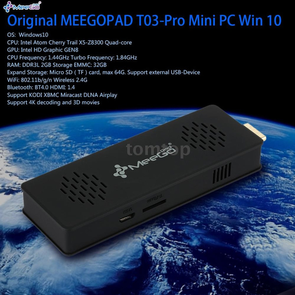 Pro Mini PC Win 10 Intel Atom Cherry Trail X5-Z8300 Quad-core 2G / 32G KODI  XBMC 4K 3D Bluetooth 4 0 Miracast DLNA Airplay H 265 WiFi Compute Stick