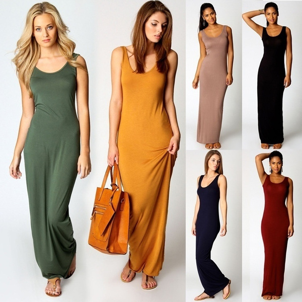 Fashion Women Sleeveless Casual Maxi Tank Dress Plus Size Summer Style Sexy Dresses