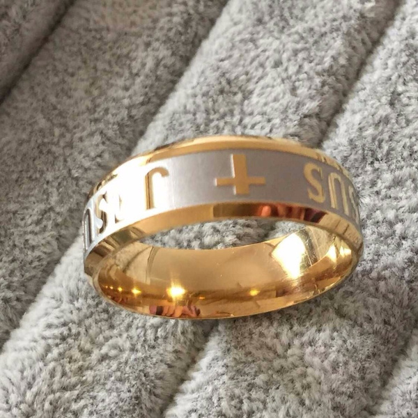large size 8mm 316 Titanium Steel 18K silver gold plated jesus cross Letter bible wedding band ring men women