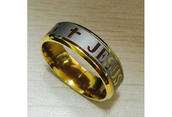 High quality large size 8mm 316 Titanium Steel 18K silver gold plated jesus cross Letter bible wedding band ring men women