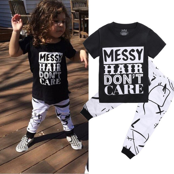 Pants Trousers Clothes Set 2PCS Toddler Kids Baby Girl Outfits T-shirt Tops