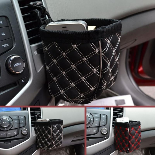 Car Leather Upholstery >> Mobile Phone Holder Black Car Leather Upholstery Car Outlet Sundries Bag Cell Phone Pocket Glove