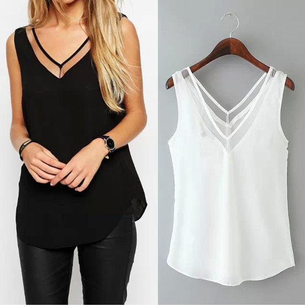 Picture of Women Lady Chiffon V Neck Summer Top Tank Blouse Sleeveless Loose Vest T-shirt
