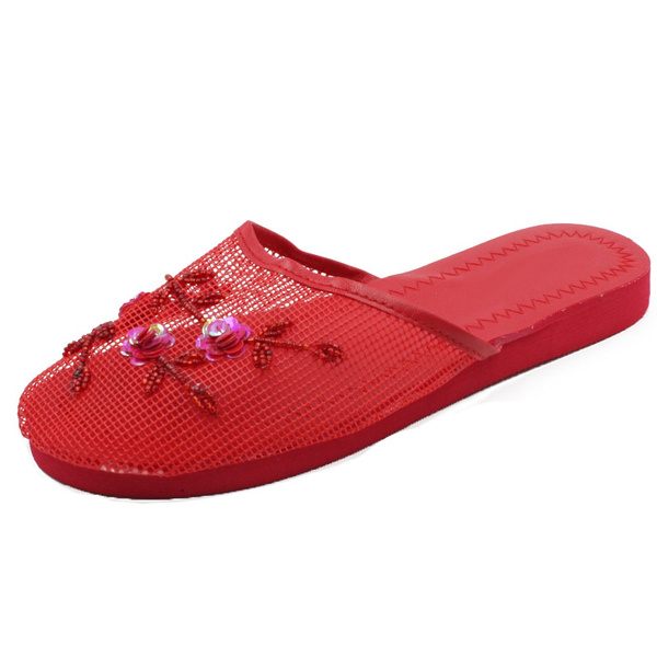 eea3a5f3294e2 Womens Chinese Mesh Slippers Slides Slip On Sandal House Shoe Floral ...