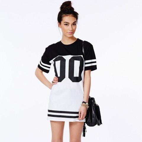 888b7edad10e Monochrome Baseball Dress Loose Long T-Shirt Dress Baseball Tshirt ...