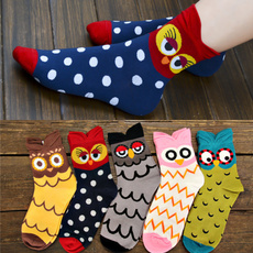 Kawaii Colorful Owl Socks Women's 100% Cotton Socks