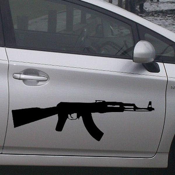 length 70cm 2 x Ak-47 Kalashnikov Classic Submachine Gun Personality  Vehicle Wraps Funny Die Cut Car Sticker For Scratches Waterproof Cars Side  Rear