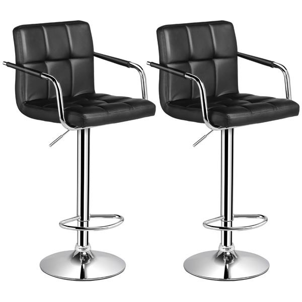 Brilliant 2 X Black Breakfast Bar Stools Faux Leather Barstools Kitchen Stool Cjindustries Chair Design For Home Cjindustriesco