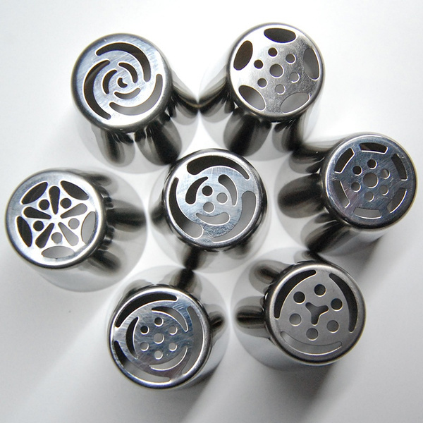 1/2/3/4/5/6/7PCS Stainless Steel Russian Tulip Icing Piping Nozzles Pastry Decorating Tips Cake Cupcake Decorator Rose Kitchen Accessories