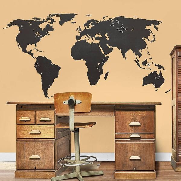 Wish   Large World Map Global Atlas Vinyl Wall Art Sticker Tattoos ...