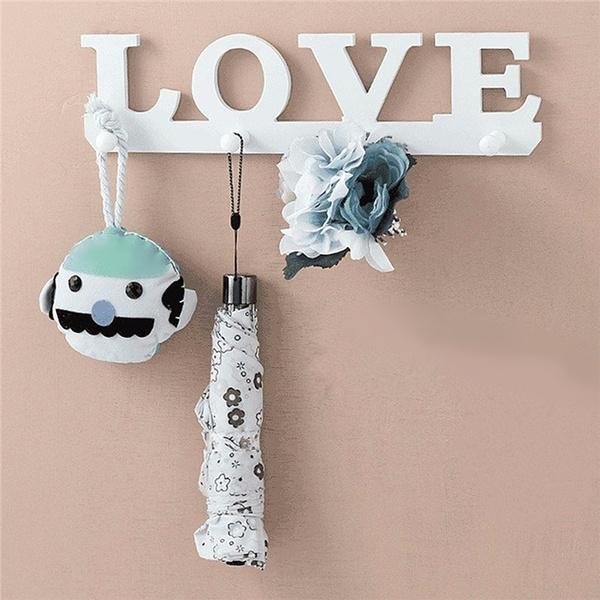 White LOVE Shape Hooks Coat Hat Robe Key Holder Rack Wall Storage Hanger Home Decor