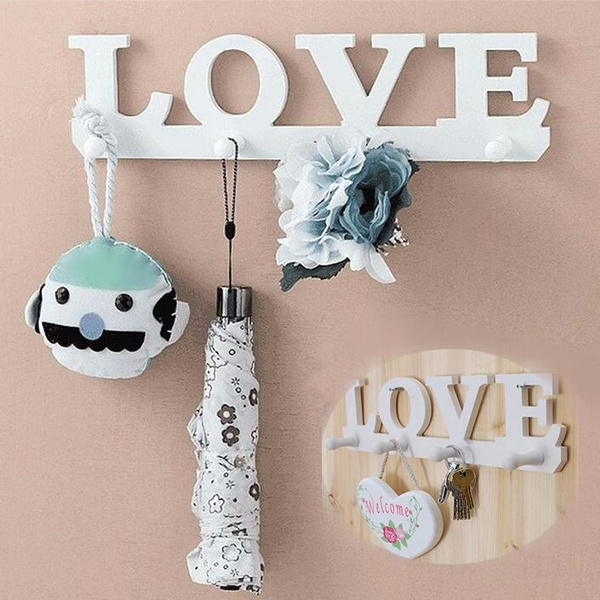 White LOVE Shape Hooks Coat Hat Robe Key Holder Rack Wall Storage Hanger Home Decor