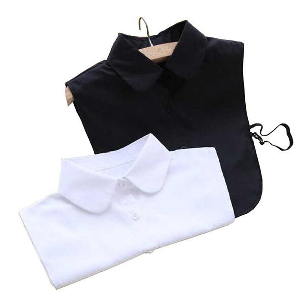 2590fac00212c0 Fake Collar White Black Sharp/Round Dickey Blouse Peter Pan ...