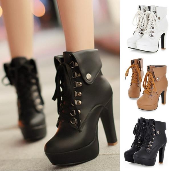 sitio de buena reputación f4040 679ad Plus Size plataforma tacones altos botas de cordones de tacón grueso  botines para mujeres 2015 nueva moda botines