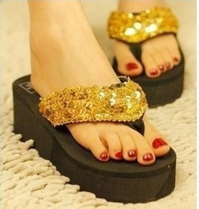 Sequins Women Shoes Beach Slippers Flip Flops Sandalias Plataforma Women Wedges Women Sandals Slippers Shipping Free