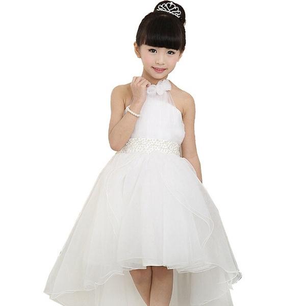 Wish Children S Clothing Dress Korean Princess White Lace Long Tail Wedding Kids Dresses For