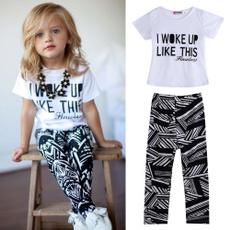 summer girls clothing sets 2017 new fashion I WOKE UP LIKE THIS letter t shirt+pants 2pcs girl clothing set baby girl clothes