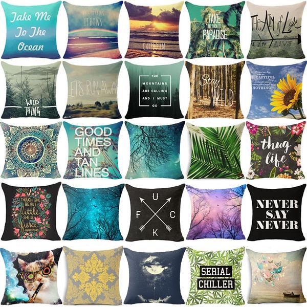 Picture of 18 Square Decorative Pillowcase Cotton Linen Landscape Pattern Pillow Cover Car Sofa Waist Cushion Cover