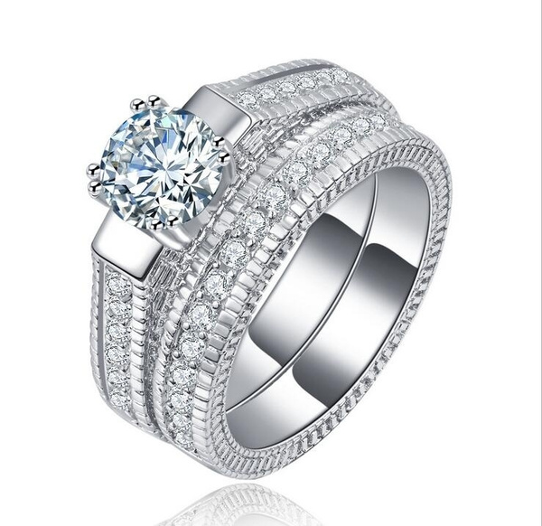 Picture of New Brand Jewelry Womens 2 Pcs White Sapphire 925 Sterling Silver Wedding Ring