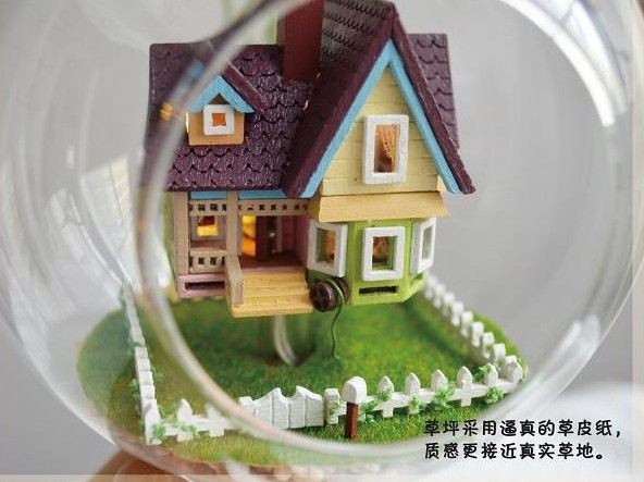 Wish | Dream House DIY Glass House Pixar Film Up Flying Cabin House Model,Assembling  Novelty Miniature House Toy For Kids